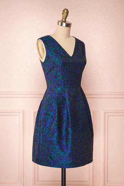 Vanko Blue Cocktail Dress with Embroidery | Boutique 1861 side view
