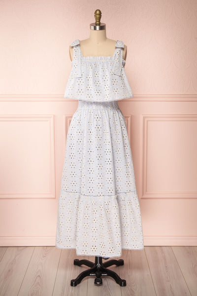 Vanolie Baby Blue English Embroidered Dress | Boutique 1861 side close up