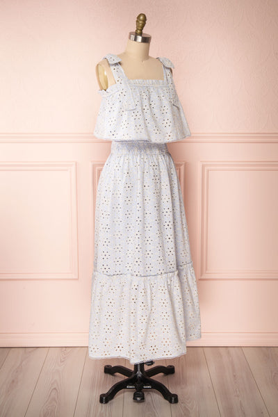 Vanolie Baby Blue English Embroidered Dress | Boutique 1861 side view