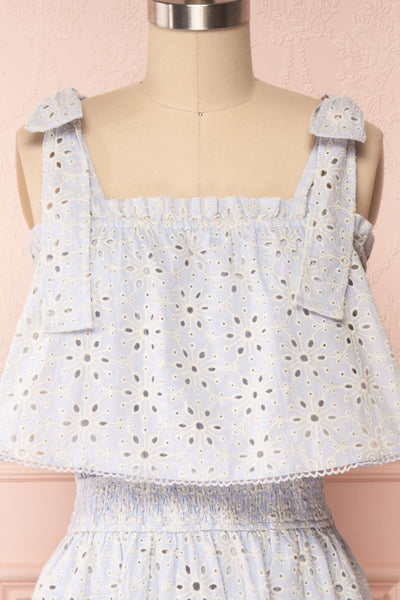 Vanolie Baby Blue English Embroidered Dress | Boutique 1861 front close up