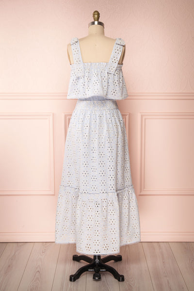 Vanolie Baby Blue English Embroidered Dress | Boutique 1861 back view