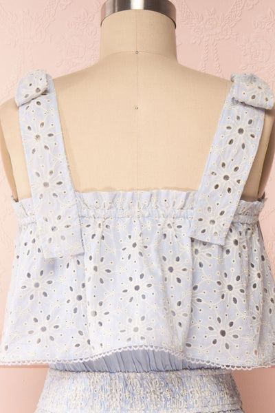 Vanolie Baby Blue English Embroidered Dress | Boutique 1861 back close up