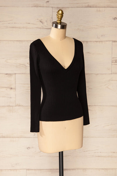 Vantaa Black Ribbed V-Neck Top | La petite garçonne side view