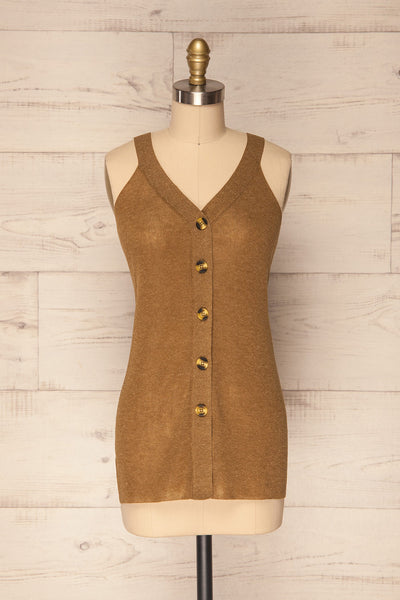 Baionas Khaki Green Button-Up Tank Top | La Petite Garçonne 1