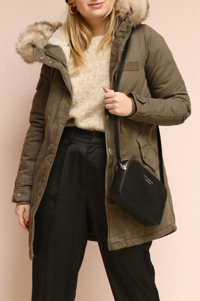 Varna Khaki Parka Coat with Faux Fur Hood | La Petite Garçonne on model