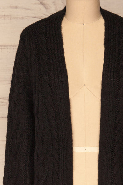 Varvarin Black Knit Cardigan | La Petite Garçonne front close-up