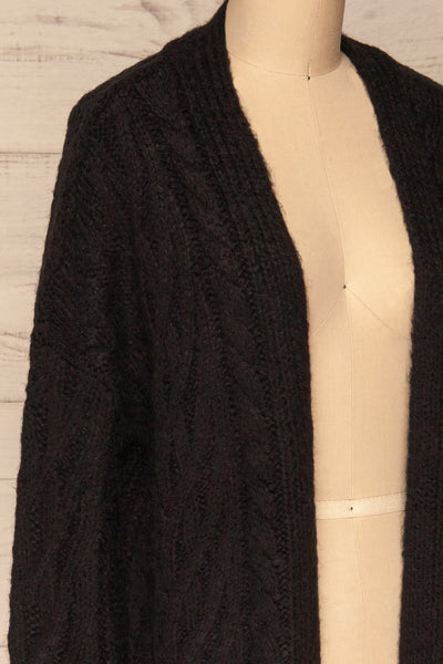 Varvarin Black Knit Cardigan | La Petite Garçonne side close-up