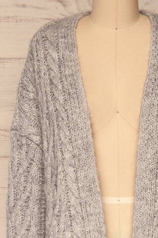 Varvarin Light Grey Knit Cardigan | La Petite Garçonne front close-up