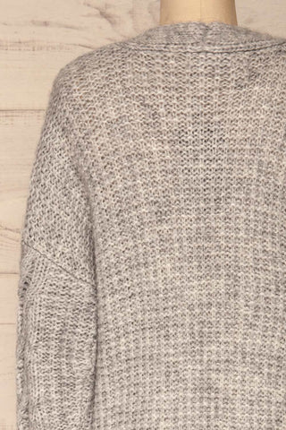 Varvarin Light Grey Knit Cardigan | La Petite Garçonne back close-up