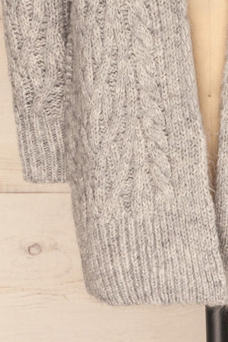 Varvarin Light Grey Knit Cardigan | La Petite Garçonne bottom close-up