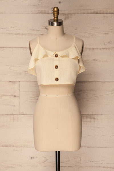 Vasles Cream Button-Up Crop Tank Top with Ruffles | La Petite Garçonne