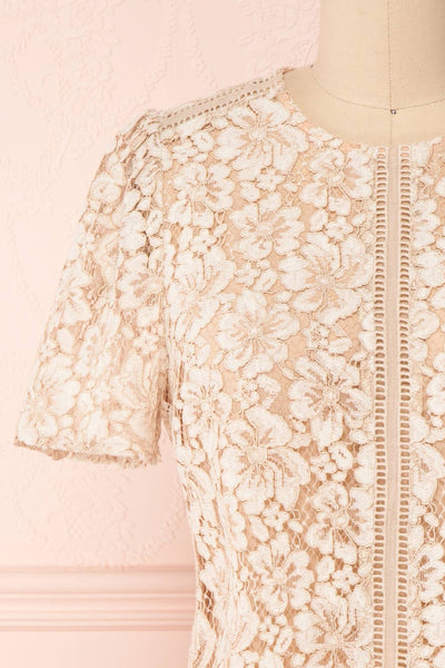 Vasylyna Beige Floral Lace T-Shirt | front close up | Boutique 1861