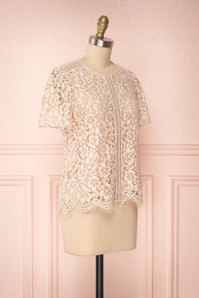 Vasylyna Beige Floral Lace T-Shirt | side view | Boutique 1861