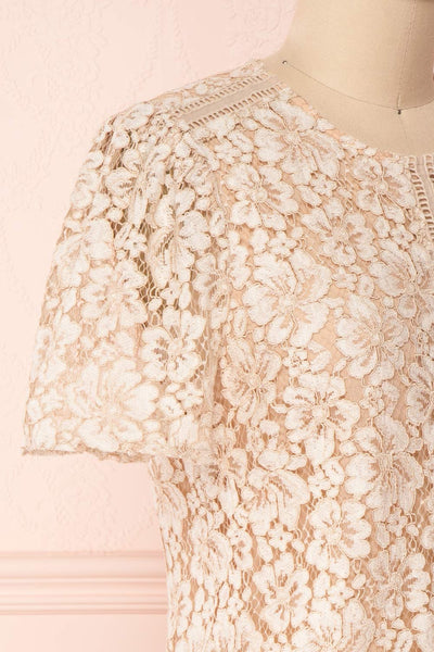 Vasylyna Beige Floral Lace T-Shirt | side close up| Boutique 1861