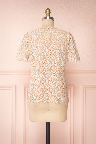 Vasylyna Beige Floral Lace T-Shirt |back view| Boutique 1861