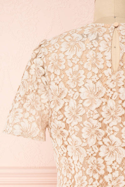 Vasylyna Beige Floral Lace T-Shirt |back close up| Boutique 1861