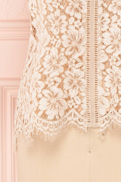 Vasylyna Beige Floral Lace T-Shirt |bottom close up| Boutique 1861