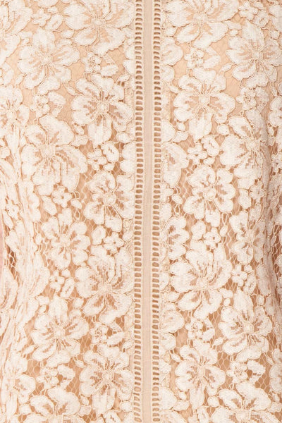 Vasylyna Beige Floral Lace T-Shirt |texture close up| Boutique 1861