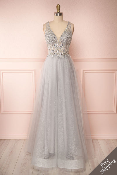 Vatrouchka Grey Tulle & Crystal Gown front view FS | Robe | Boutique 1861