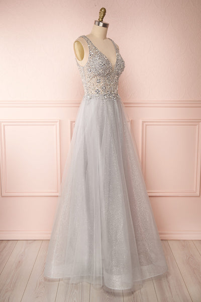 Vatrouchka Grey Tulle & Crystal Gown | Robe side view | Boutique 1861