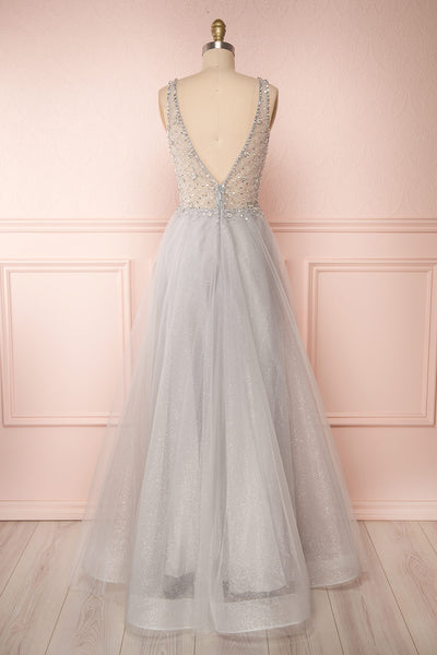 Vatrouchka Grey Tulle & Crystal Gown | Robe back view | Boutique 1861