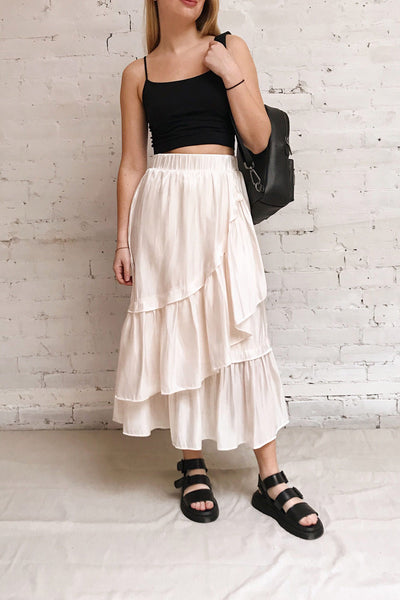 Venelle Ivory Mid-Length Skirt w/ Frills | Boutique 1861 model look
