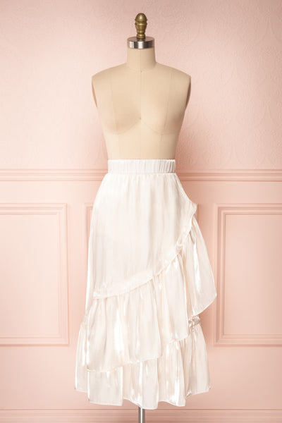 Venelle Ivory Mid-Length Skirt w/ Frills | Boutique 1861 front view