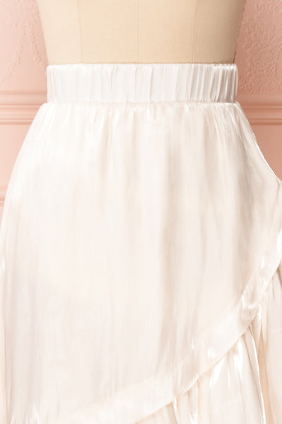 Venelle Ivory Mid-Length Skirt w/ Frills | Boutique 1861 front close up