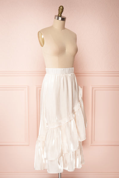 Venelle Ivory Mid-Length Skirt w/ Frills | Boutique 1861 side view