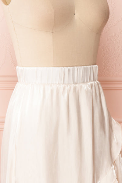 Venelle Ivory Mid-Length Skirt w/ Frills | Boutique 1861 side close up