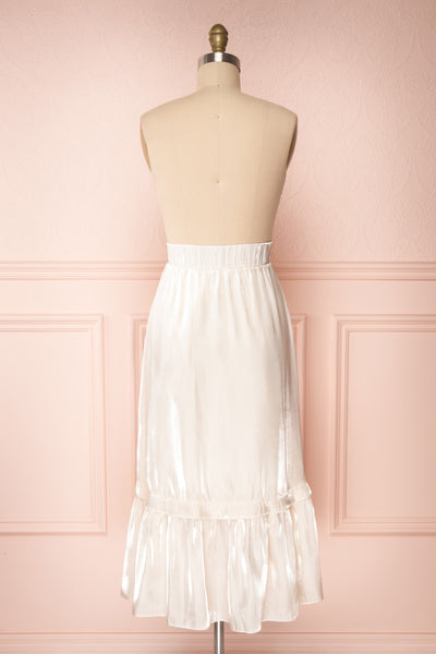 Venelle Ivory Mid-Length Skirt w/ Frills | Boutique 1861 back view