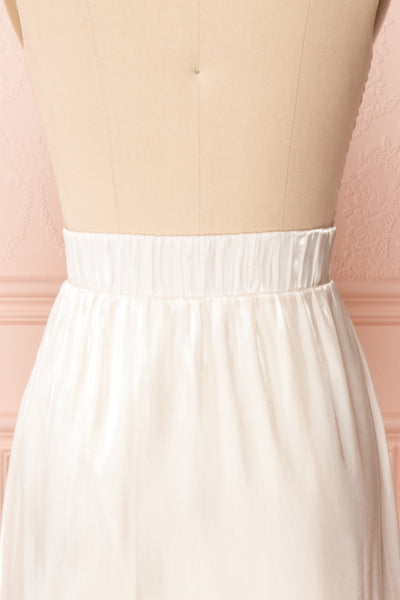 Venelle Ivory Mid-Length Skirt w/ Frills | Boutique 1861 back close up