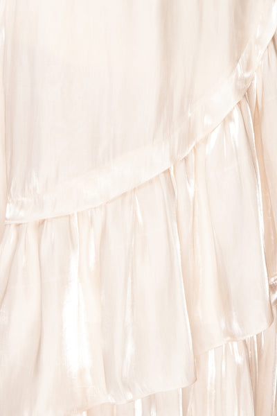 Venelle Ivory Mid-Length Skirt w/ Frills | Boutique 1861 fabric