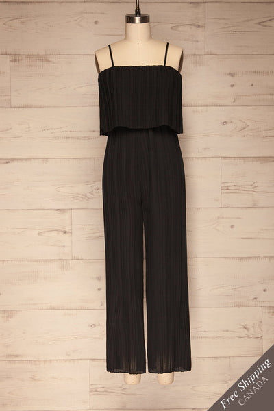 Venlo Blackberry Black Pleated Jumpsuit | La petite garçonne  front view