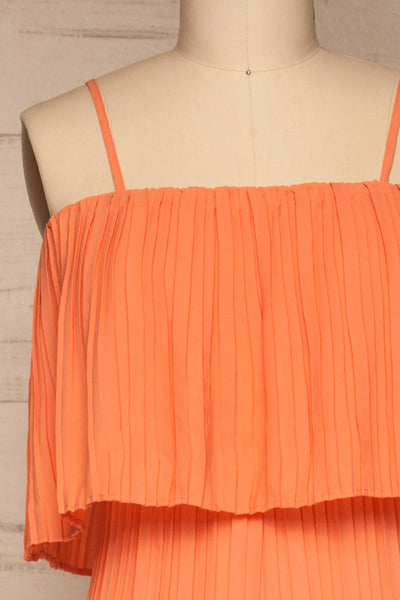Venlo Grapefruit Coral Pleated Jumpsuit | La petite garçonne  front close-up