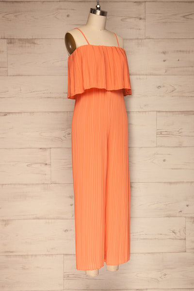 Venlo Grapefruit Coral Pleated Jumpsuit | La petite garçonne  side view
