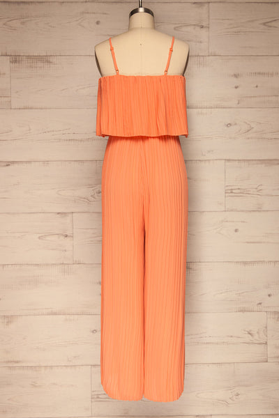 Venlo Grapefruit Coral Pleated Jumpsuit | La petite garçonne  back view