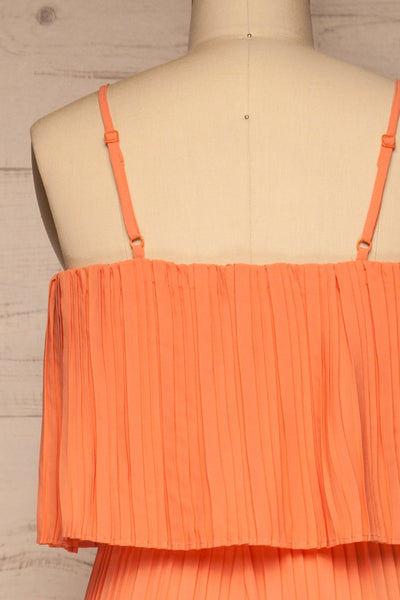 Venlo Grapefruit Coral Pleated Jumpsuit | La petite garçonne  back close-up