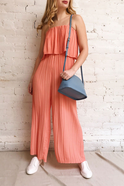 Venlo Grapefruit Coral Pleated Jumpsuit | La petite garçonne model look