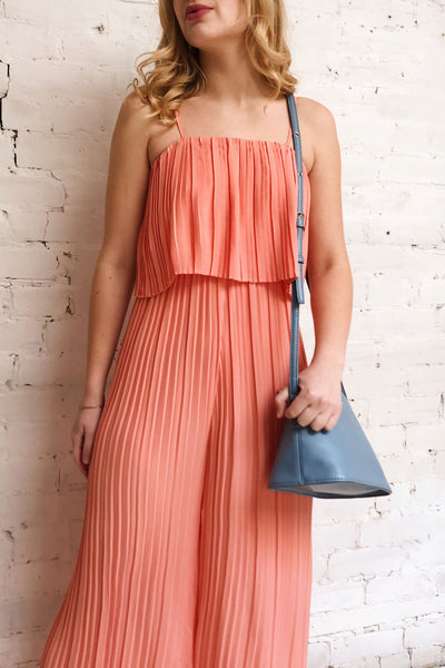 Venlo Grapefruit Coral Pleated Jumpsuit | La petite garçonne on model