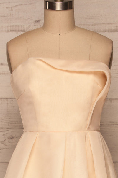 Venosa Beige Strapless Maxi Dress front close up | La petite garçonne