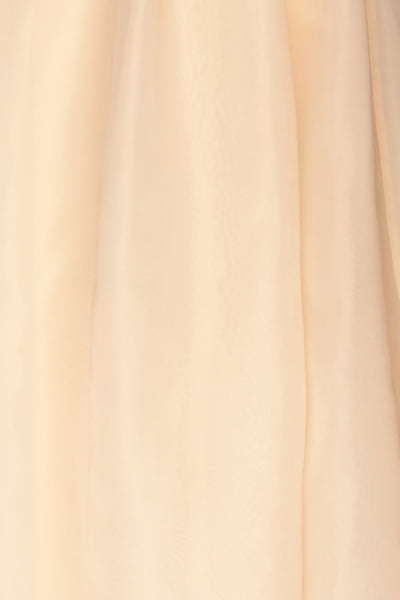 Venosa Beige Strapless Maxi Dress fabric close up | La petite garçonne