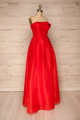 Venosa Red Strapless Maxi Dress side view | La petite garçonne