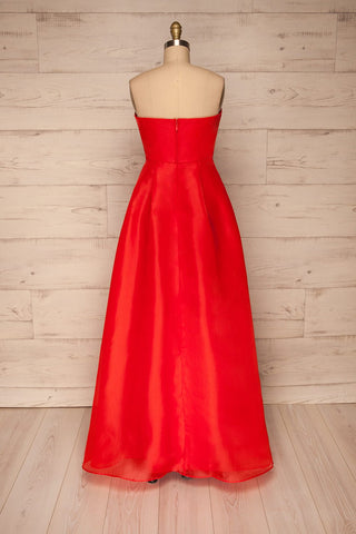 Venosa Red Strapless Maxi Dress back view | La petite garçonne