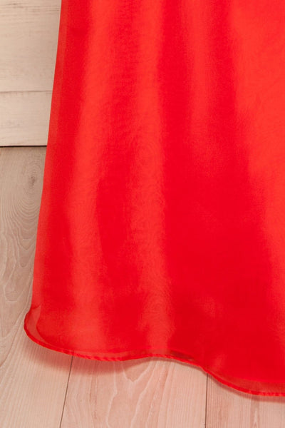 Venosa Red Strapless Maxi Dress | skirt close up La petite garçonne