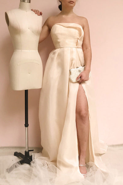 Venosa Beige | Strapless Maxi Dress