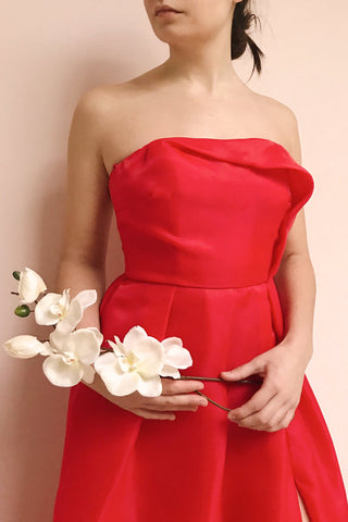 Venosa Red Strapless Maxi Dress | La petite garçonne model close up