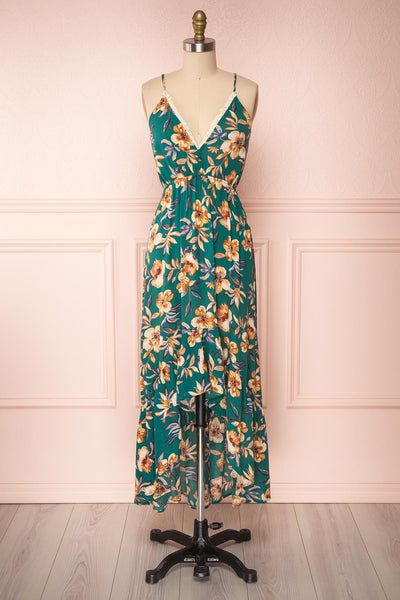 Verrina Green High-Low Floral Summer Dress | Boutique 1861 front view