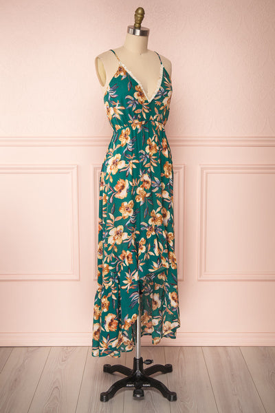 Verrina Green High-Low Floral Summer Dress | Boutique 1861 side view