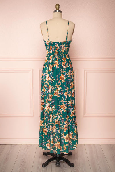 Verrina Green High-Low Floral Summer Dress | Boutique 1861 back view